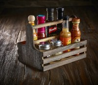 Rustic Wooden Table Caddy with Condiments