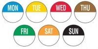 Set of 7 Days Sunday to Monday of Removable Daydot Labels