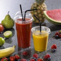 Flat straw slot and dome lid for plastic smoothie tumblers with cups and product
