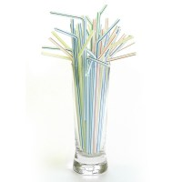Striped Plastic Flexi Drinking Straw 8inch / 200mm