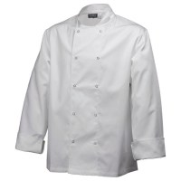 White Basic Chefs Jacket with Press Studs