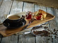 Acacia Wood Serving Tray with Coffee, Jam & Scone